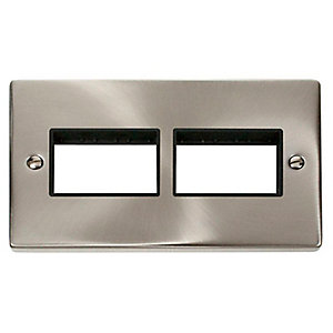Deco VPSC406BK 2 Gang Minigrid Unfurnished Plate - 2 x 3 Apertures - Black - Satin Chrome