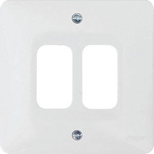 Hager WMGP2 2 Gang White Moulded Grid Plate