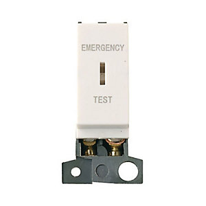 Minigrid MD029PW 10AX Dp Keyswitch Module 'emergency Test' - Polar White