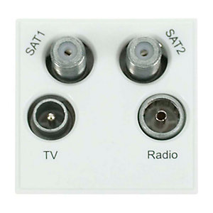 New Media MM440WH Quad TV, Radio, Sat 1 & Sat 2 Module - White