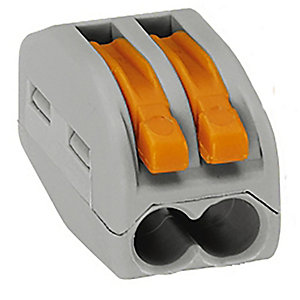 Wago 222-412 2 Way Lever Connector - Grey/Orange - Box of 50