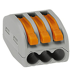Wago 222-413 3 Way Lever Connector - Grey/Orange - Box of 50