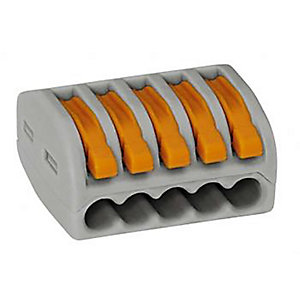 Wago 222-415 5 Way Lever Connector - Grey/Orange - Box of 40