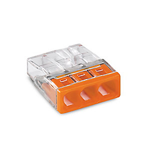Wago 2273-203 3 Way Compact Push Wire Connector - Orange - Box of 100 - Pack of 100
