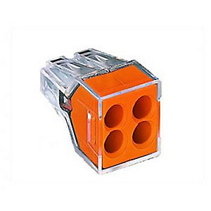 Wago 773-104 4 Way Push Wire Connector - Orange - Box of 100 - Pack of 100
