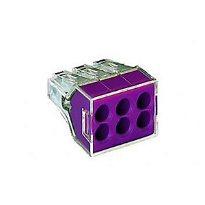 Wago 773-106 6 Way Push Wire Connector - Lilac - Box of 50