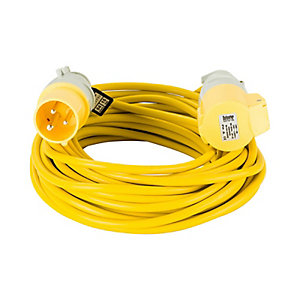 Defender E85111 14m Extension Lead - 16A 1.5mm Cable - Yellow 110V