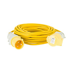 Defender E85235 14m Extension Lead - 32A 2.5mm Cable - Yellow 110V