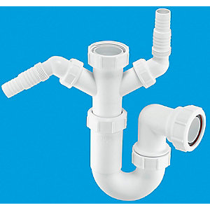 McAlpine Sink P Trap and 2 Nozzles White 38mm WM11