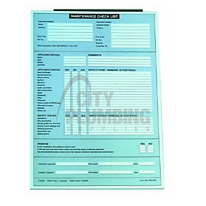 Regin Maintenance Check List Pad REGP65