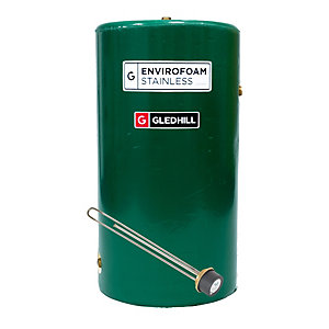 "Gledhill EnviroFoam 900 x 450mm Indirect Stainless Steel Cylinder + 27"" Incoloy Immersion Heater & Thermostat"