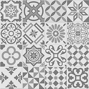 Antigua Grey Patchwork Matt Wall & Floor Tile 200 x 200 mm (Pack Of 25)