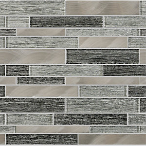 Ashby Grey Glass Linear Mosaic Tile 300 x 300 mm