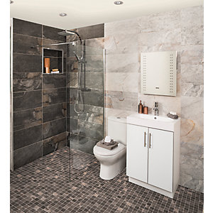 Aspen Silver Grey Mosaic Matt Wall & Floor Tile 300 x 300 mm (Pack Of 6)