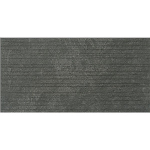 Black Peak Black Structured Wall & Floor Tile 600 x 300 mm (Pack Of 6)