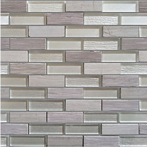 Croswell Grey Stainless Metal Mix Liner Mosiac Tiles 15 x 48 mm