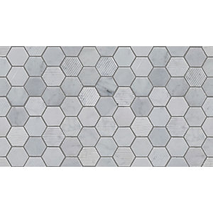 Fog Stone Hexagon Mosaic Tile 48 mm