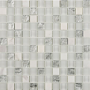 Hutton White/Silver Glass & Stone Mosaic Wall Tile 23 x 23 mm