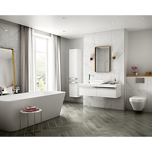 Rockingham Grey Oak Matt Wall & Floor Tile 600 x 150 mm (Pack Of 12)