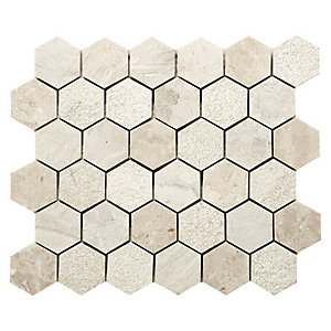Vanilla Cream Hexagon Mosaic Wall & Floor Tile 48 mm