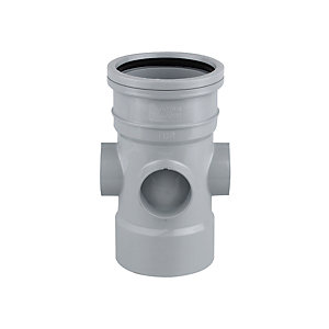 Wavin OsmaSoil System Single Socket Bossed Pipe Grey 110mm 4S590G