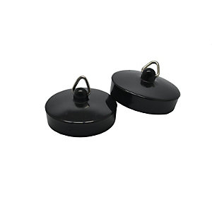 1 3/4 In Black Bath Plug Pack Of 2 10066624
