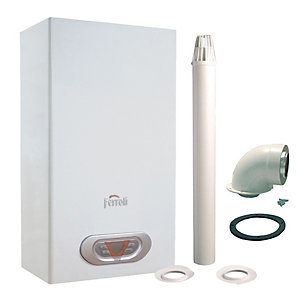 Ferroli Sky Eco 14F Natural Gas Water Heater and Flue