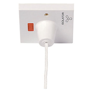 10A 3 Pole Fan Isolation Pull Cord Switch - PRW208