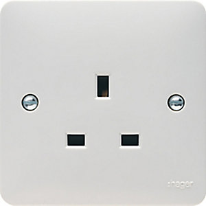 Hager 13A 1 Gang Unswitched Socket - WMS81