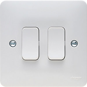 Hager 2 Gang 2 Way Light Switch - WMPS22