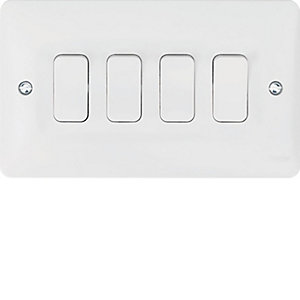 Hager 4 Gang 2 Way Light Switch - WMPS42