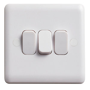 Vimark Curve 10A 3 Gang 2 Way Light Switch - VC1205