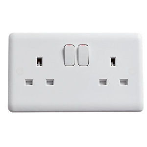 Vimark Curve 13A 2 Gang Double Pole Socket - VC1209SDP
