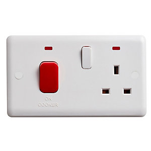 Vimark Curve 45A Cooker Control Unit with Red Rocker and Neon - VC1302P