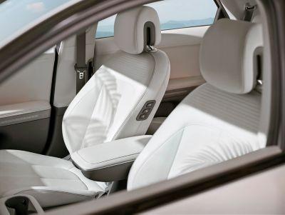 The sliding centre console inside the Hyundai IONIQ 5 midsize CUV.