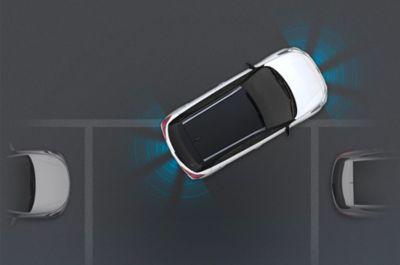 Ilustración gráfica del asistente de aparcamiento frontal y trasero del nuevo Hyundai i20 Active.