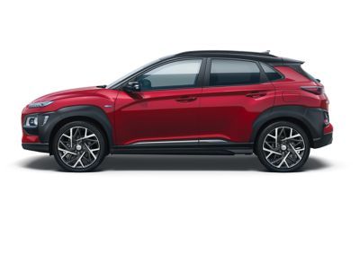 Image of the Kona Hybrid in pulse red color.
