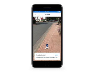 Detail aplikace Hyundai Bluelink s funkcí Navigace na poslední míli v rozšířené realitě.