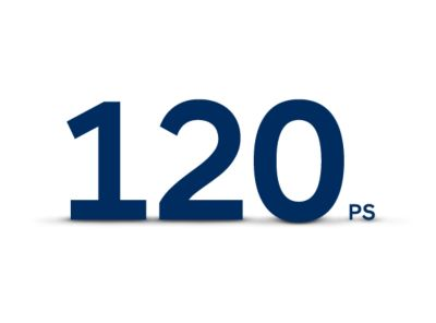 "Black letters against a white background saying ""120 PS"""