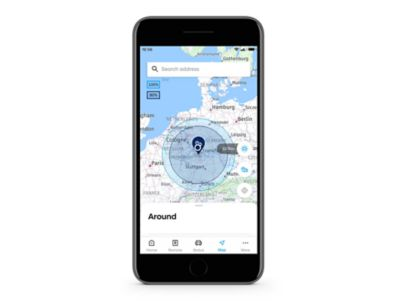 Detail aplikace Hyundai Bluelink s funkcí Dojezd na obrazovce.