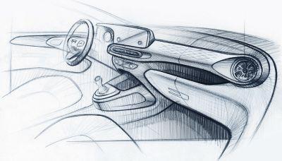 Szkic projektu deski rozdzielczej Hyundaia i10 Nowej Generacji