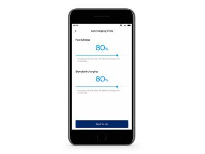 Detailní pohled na aplikaci Hyundai Bluelink s funkcí Limity dobíjení na obrazovce.
