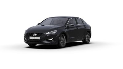Front side view of the new Hyundai i30 Fastback in the colour Phantom Black.