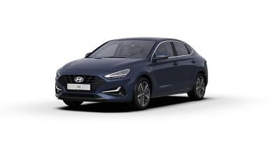 Front side view of the new Hyundai i30 Fastback in the colour Stellar Blue.