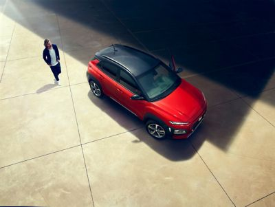 The all-new Hyundai Kona, seen in a wide-angle view from above.
