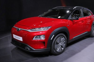 The all-new Hyundai Kona Electric at the Geneva Motor Show 2018.