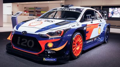 The Hyundai i20 Coupe WRC at the Paris Motor Show 2019.