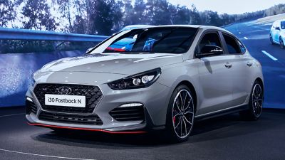 The all-new Hyundai i30 Fastback N at the Paris Motor Show 2019.