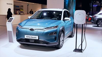 The all-new Hyundai Kona Electric at the Paris Motor Show 2019.