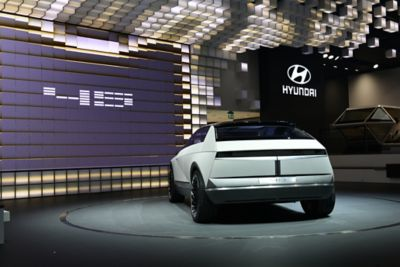 Image of Hyundai's full electric concept car: 45, shown from the rear.